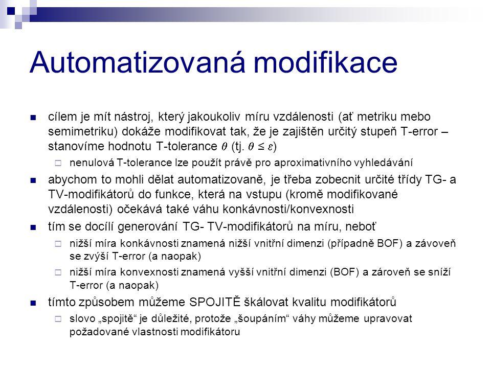 Automatizovaná modifikace cílem je mít nástroj, který jakoukoliv míru vzdálenosti (ať metriku mebo semimetriku) dokáže modifikovat tak, že je zajištěn určitý stupeň T-error – stanovíme hodnotu T-tolerance  (tj.