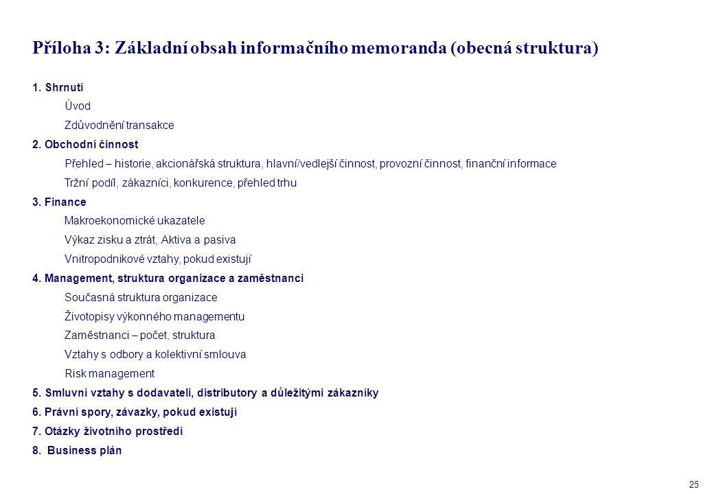 25 Příloha 3: Základní obsah informačního memoranda (obecná struktura) 1.