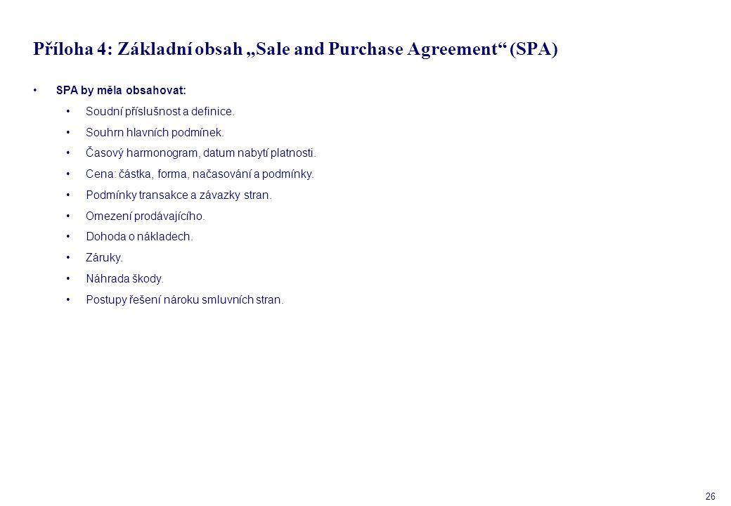 """26 Příloha 4: Základní obsah """"Sale and Purchase Agreement (SPA) SPA by měla obsahovat: Soudní příslušnost a definice."""