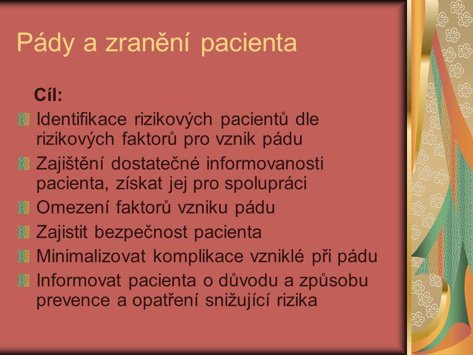 Pády a zranění pacienta Cíl: Identifikace rizikových pacientů dle rizikových faktorů pro vznik pádu Zajištění dostatečné informovanosti pacienta, získ