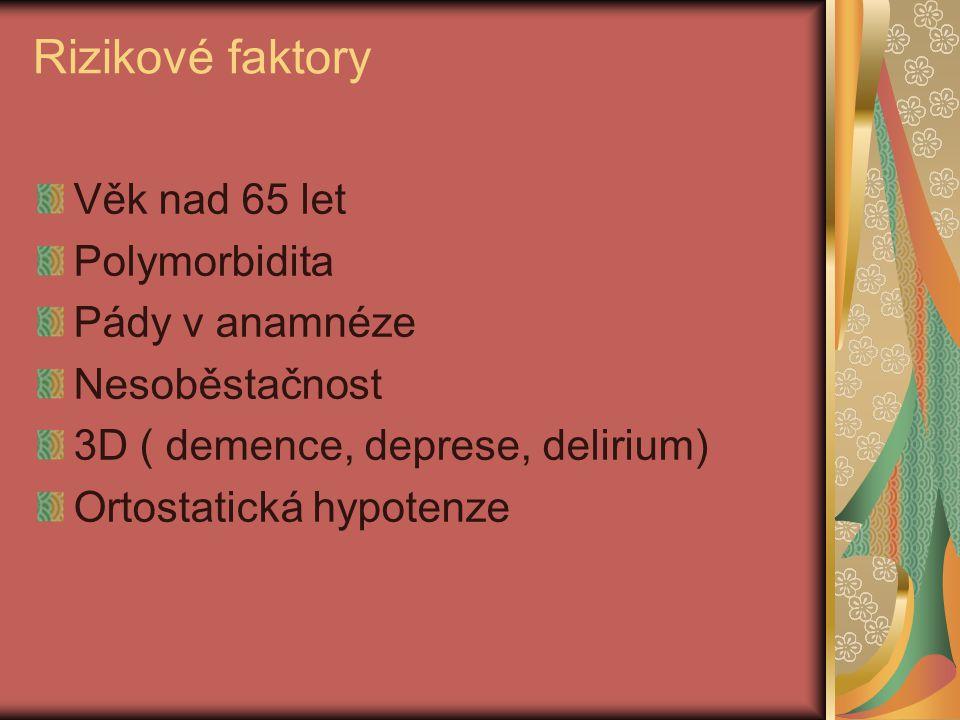 Rizikové faktory Věk nad 65 let Polymorbidita Pády v anamnéze Nesoběstačnost 3D ( demence, deprese, delirium) Ortostatická hypotenze