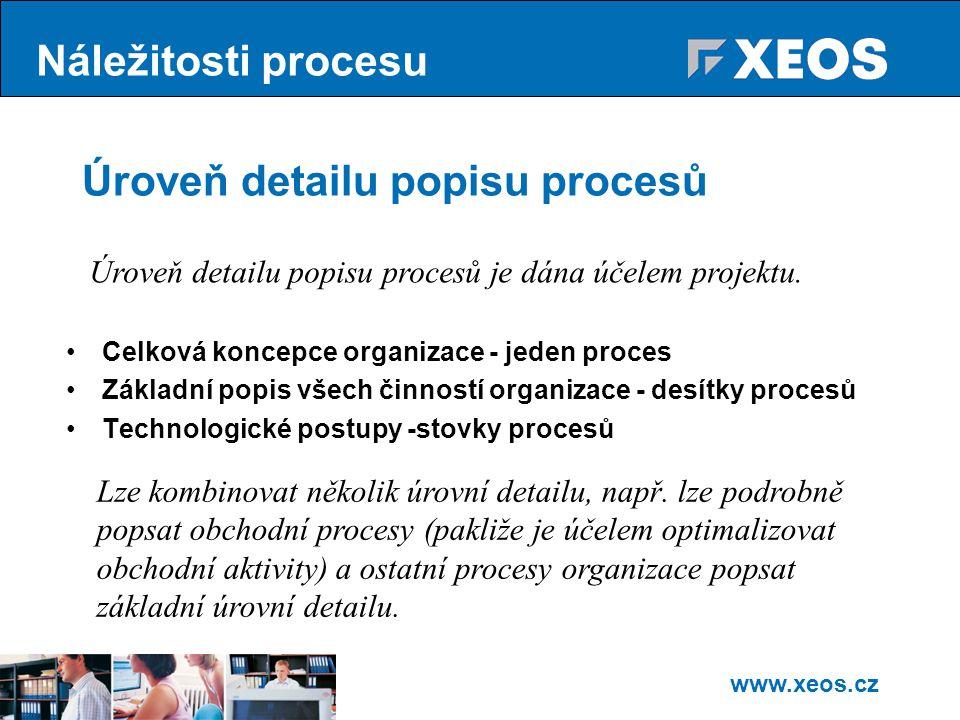 www.xeos.cz Úroveň detailu popisu procesů Celková koncepce organizace - jeden proces Základní popis všech činností organizace - desítky procesů Technologické postupy -stovky procesů Lze kombinovat několik úrovní detailu, např.