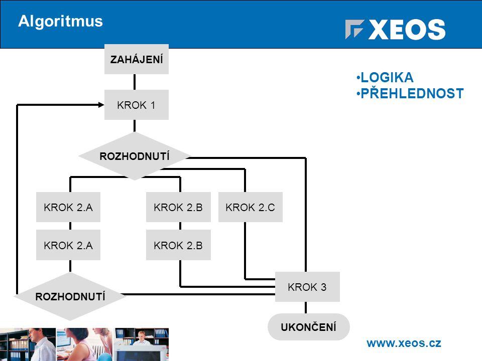 www.xeos.cz Algoritmus ZAHÁJENÍ KROK 1 KROK 2.A ROZHODNUTÍ KROK 2.BKROK 2.C KROK 2.AKROK 2.B KROK 3 UKONČENÍ ROZHODNUTÍ LOGIKA PŘEHLEDNOST