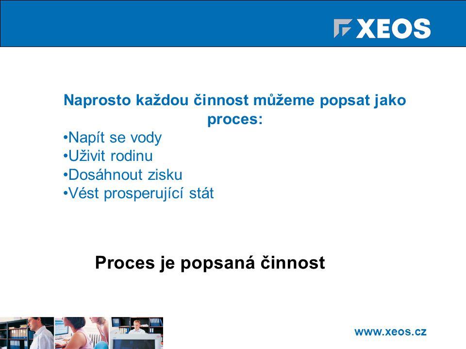 www.xeos.cz Naprosto každou činnost můžeme popsat jako proces: Napít se vody Uživit rodinu Dosáhnout zisku Vést prosperující stát Proces je popsaná činnost