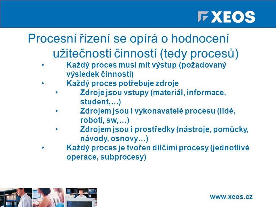 www.xeos.cz Procesní řízení se opírá o hodnocení užitečnosti činností (tedy procesů) Každý proces musí mít výstup (požadovaný výsledek činnosti) Každý proces potřebuje zdroje Zdroje jsou vstupy (materiál, informace, student,…) Zdrojem jsou i vykonavatelé procesu (lidé, roboti, sw,…) Zdrojem jsou i prostředky (nástroje, pomůcky, návody, osnovy…) Každý proces je tvořen dílčími procesy (jednotlivé operace, subprocesy)