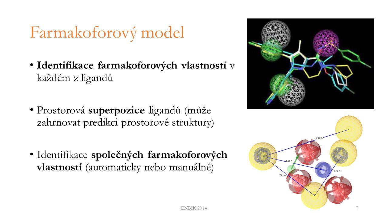 Automatické generování 2D farmakoforového modelu (1) Predikce struktury ligandu v komplexu s cílem může být obtížná 2D farmakofor místo euklidovské vzdálenosti využívá vzdálenost topologickou v grafu chemické struktury Vyvinuli jsme metodu schopnou automaticky identifikovat 2D farmakoforový model na základě znalosti aktivních a neaktivních sloučenin vzhledem k danému biologickému cíli ENBIK 20148