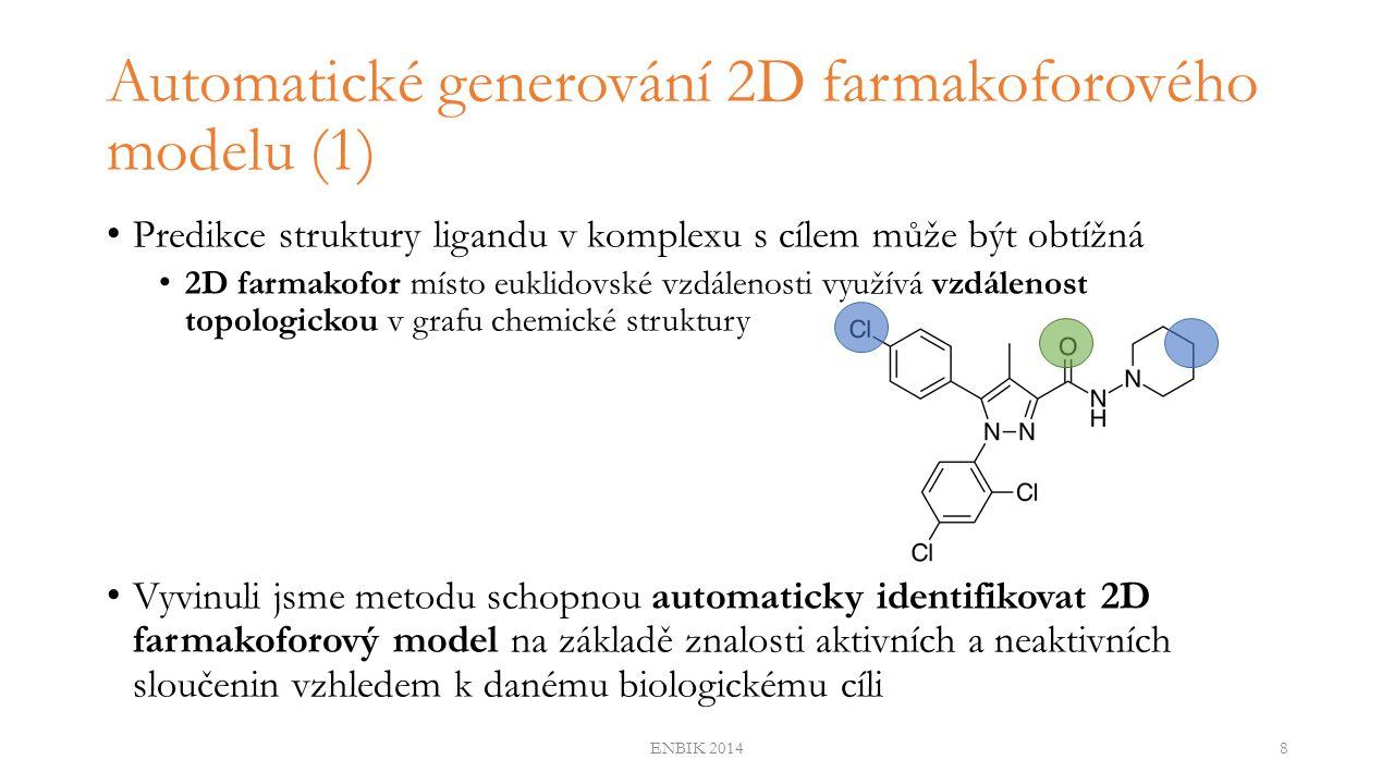 Automatické generování 2D farmakoforového modelu (2) 1.Vygenerování 2D farmakoforového otisku (bitový řetězec, kde každá pozice určuje, zda molekula obsahuje nebo neobsahuje daný farmakofor) pro každou molekulu 2.Statistická analýza identifikující farmakofory (odpovídajících pozicím bitů v farmakoforovém otisku) separující aktivní molekuly od neaktivních 3.Využití diskriminativních farmakoforů k vybudování 2D farmakoforového modelu (reprezentovaného bitovým řetězcem) ENBIK 20149