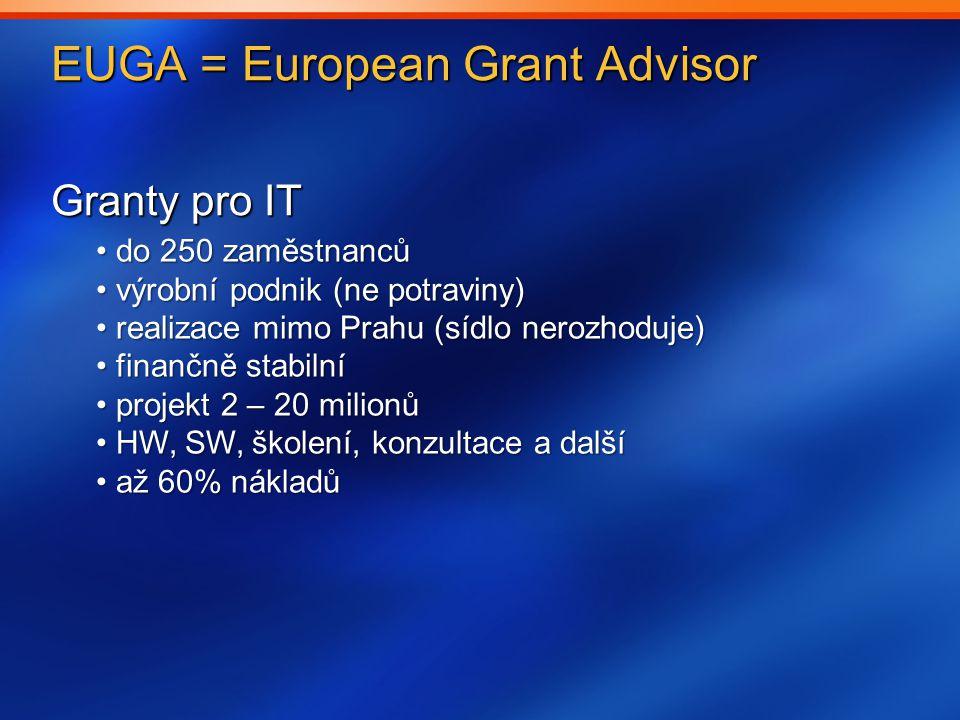 EUGA = European Grant Advisor Granty pro IT do 250 zaměstnanců do 250 zaměstnanců výrobní podnik (ne potraviny) výrobní podnik (ne potraviny) realizace mimo Prahu (sídlo nerozhoduje) realizace mimo Prahu (sídlo nerozhoduje) finančně stabilní finančně stabilní projekt 2 – 20 milionů projekt 2 – 20 milionů HW, SW, školení, konzultace a další HW, SW, školení, konzultace a další až 60% nákladů až 60% nákladů