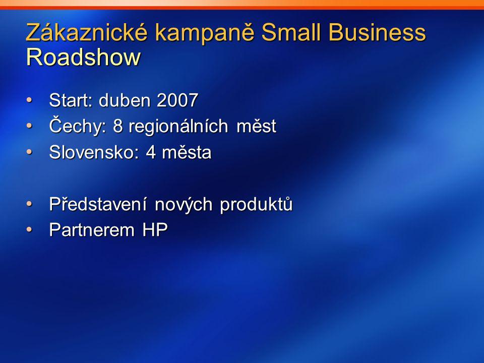Zákaznické kampaně Small Business Roadshow Start: duben 2007 Start: duben 2007 Čechy: 8 regionálních měst Čechy: 8 regionálních měst Slovensko: 4 města Slovensko: 4 města Představení nových produktů Představení nových produktů Partnerem HP Partnerem HP
