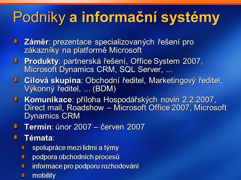Podniky a informační systémy Záměr: prezentace specializovaných řešení pro zákazníky na platformě Microsoft Produkty: partnerská řešení, Office System 2007, Microsoft Dynamics CRM, SQL Server,...