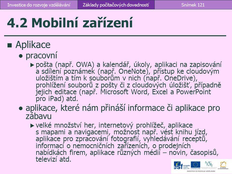 4.2 Mobilní zařízení Základy počítačových dovednostíSnímek 121Investice do rozvoje vzdělávání Aplikace pracovní  pošta (např. OWA) a kalendář, úkoly,