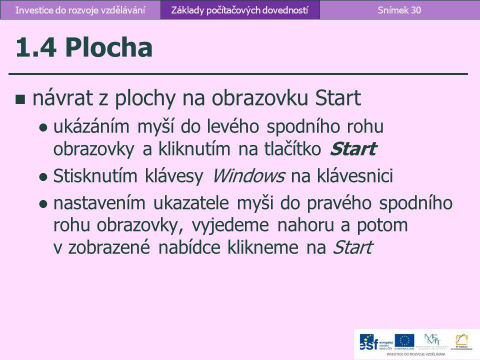 1.4 Plocha návrat z plochy na obrazovku Start ukázáním myší do levého spodního rohu obrazovky a kliknutím na tlačítko Start Stisknutím klávesy Windows