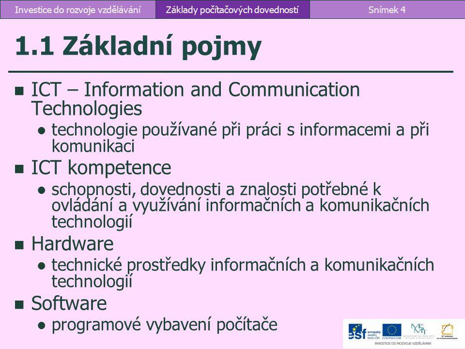 1.1 Základní pojmy ICT – Information and Communication Technologies technologie používané při práci s informacemi a při komunikaci ICT kompetence scho