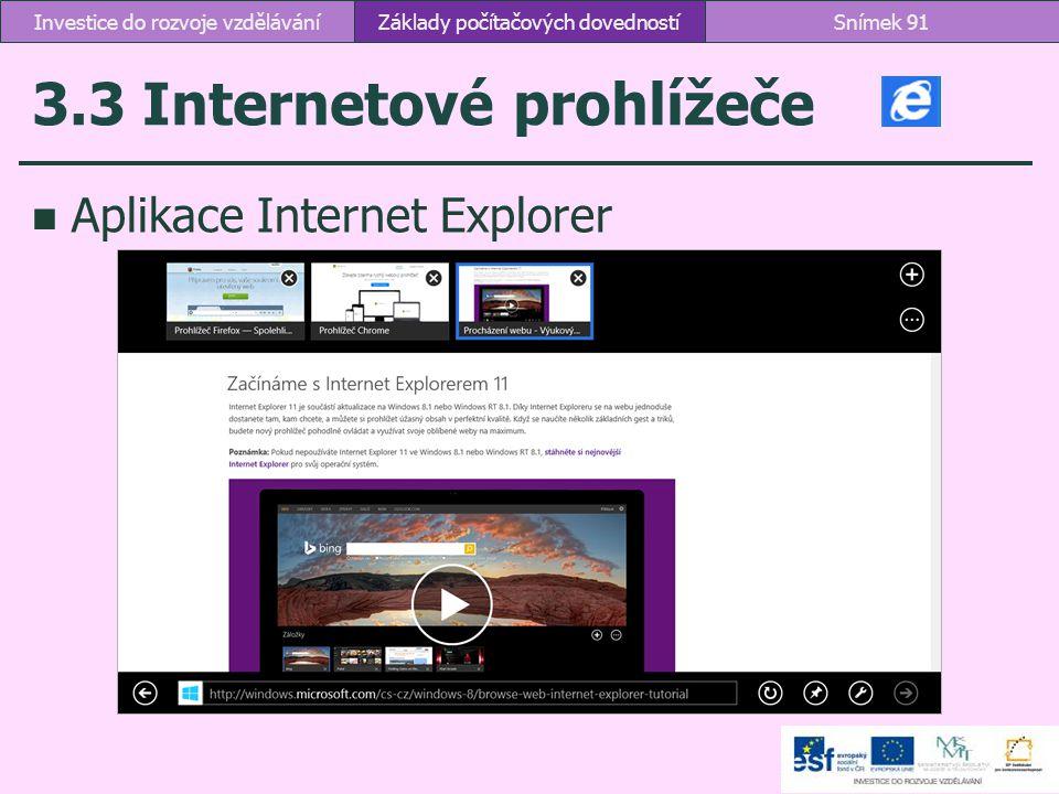 3.3 Internetové prohlížeče Aplikace Internet Explorer Základy počítačových dovednostíSnímek 91Investice do rozvoje vzdělávání