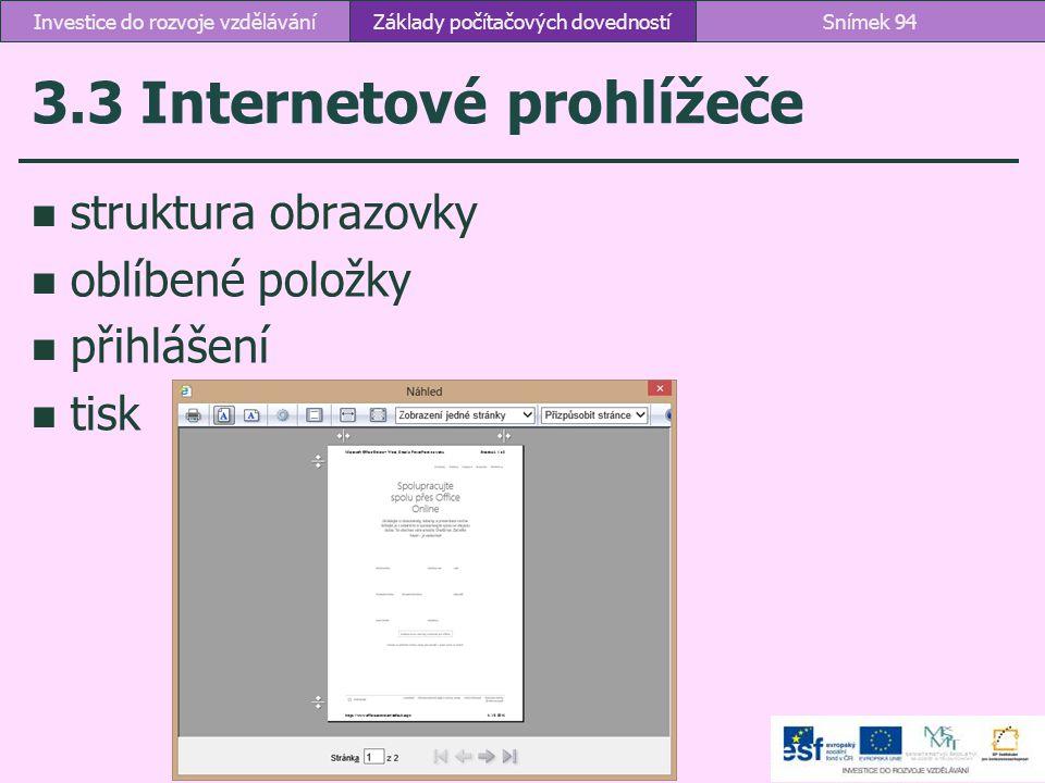 3.3 Internetové prohlížeče struktura obrazovky oblíbené položky přihlášení tisk Základy počítačových dovednostíSnímek 94Investice do rozvoje vzděláván