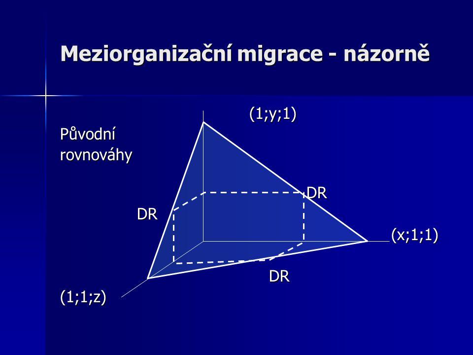 Meziorganizační migrace - názorně (1;y;1)Původnírovnováhy DR DR (x;1;1) (1;1;z)