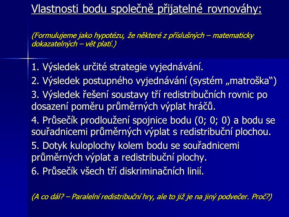 Vlastnosti bodu společně přijatelné rovnováhy: (Formulujeme jako hypotézu, že některé z příslušných – matematicky dokazatelných – vět platí.) 1.