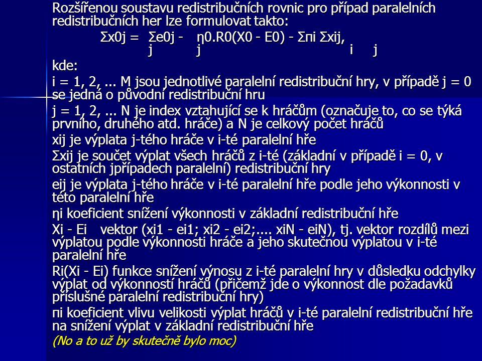 Rozšířenou soustavu redistribučních rovnic pro případ paralelních redistribučních her lze formulovat takto: Σx0j =Σe0j -η0.R0(X0 - E0) - Σπi Σxij, jj