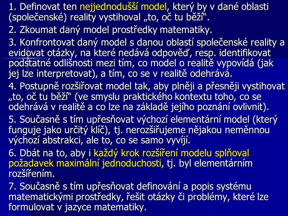 """1. Definovat ten nejjednodušší model, který by v dané oblasti (společenské) reality vystihoval """"to, oč tu běží"""". 2. Zkoumat daný model prostředky mate"""