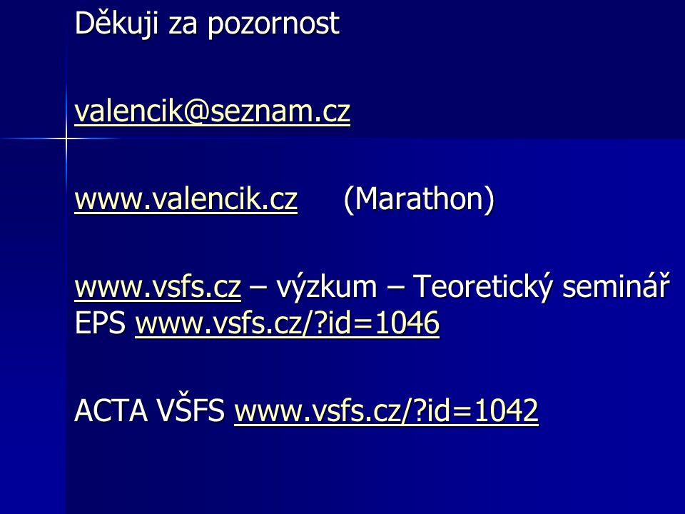 Děkuji za pozornost valencik@seznam.cz www.valencik.czwww.valencik.cz (Marathon) www.valencik.cz www.vsfs.czwww.vsfs.cz – výzkum – Teoretický seminář EPS www.vsfs.cz/ id=1046 www.vsfs.cz/ id=1046 www.vsfs.czwww.vsfs.cz/ id=1046 ACTA VŠFS www.vsfs.cz/ id=1042 www.vsfs.cz/ id=1042