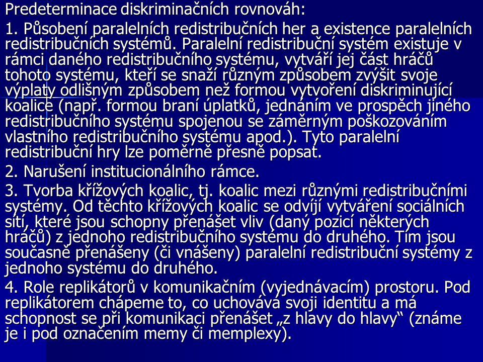 Predeterminace diskriminačních rovnováh: 1. Působení paralelních redistribučních her a existence paralelních redistribučních systémů. Paralelní redist