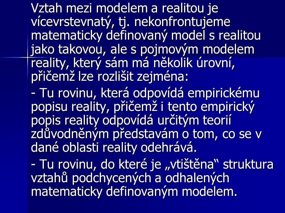 Vztah mezi modelem a realitou je vícevrstevnatý, tj. nekonfrontujeme matematicky definovaný model s realitou jako takovou, ale s pojmovým modelem real