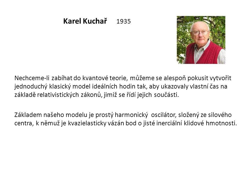 Karel Kuchař 1935 Nechceme-li zabíhat do kvantové teorie, můžeme se alespoň pokusit vytvořit jednoduchý klasický model ideálních hodin tak, aby ukazov