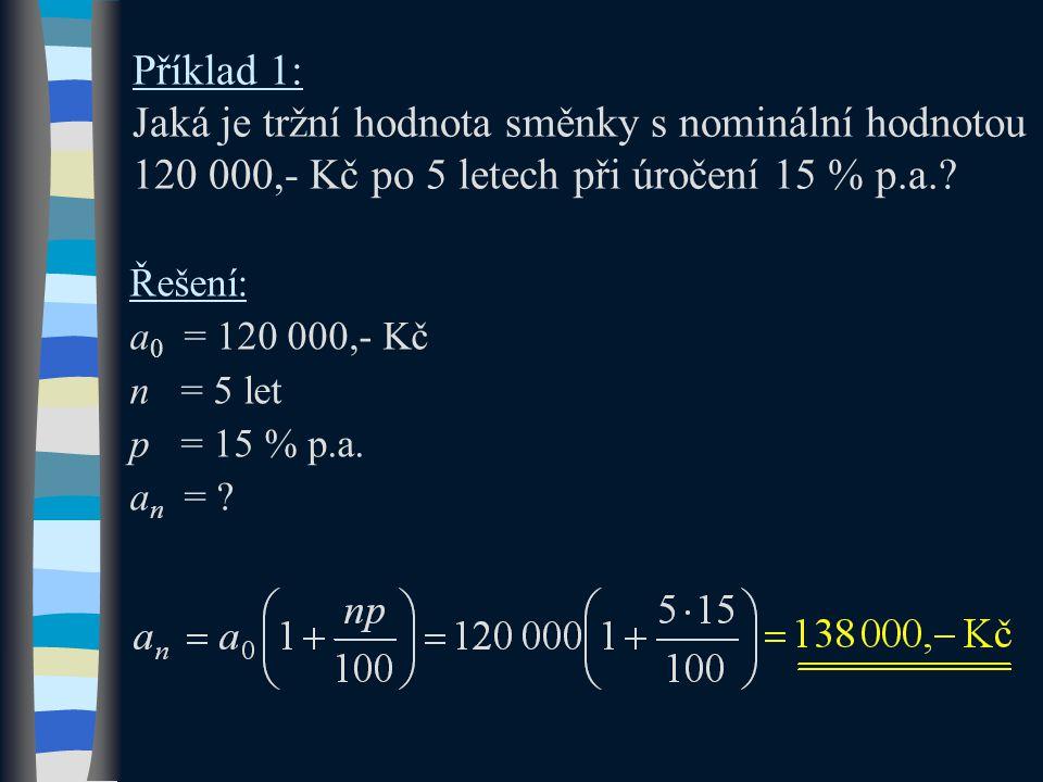 Příklad 1: Jaká je tržní hodnota směnky s nominální hodnotou 120 000,- Kč po 5 letech při úročení 15 % p.a.? Řešení: a 0 = 120 000,- Kč n = 5 let p =