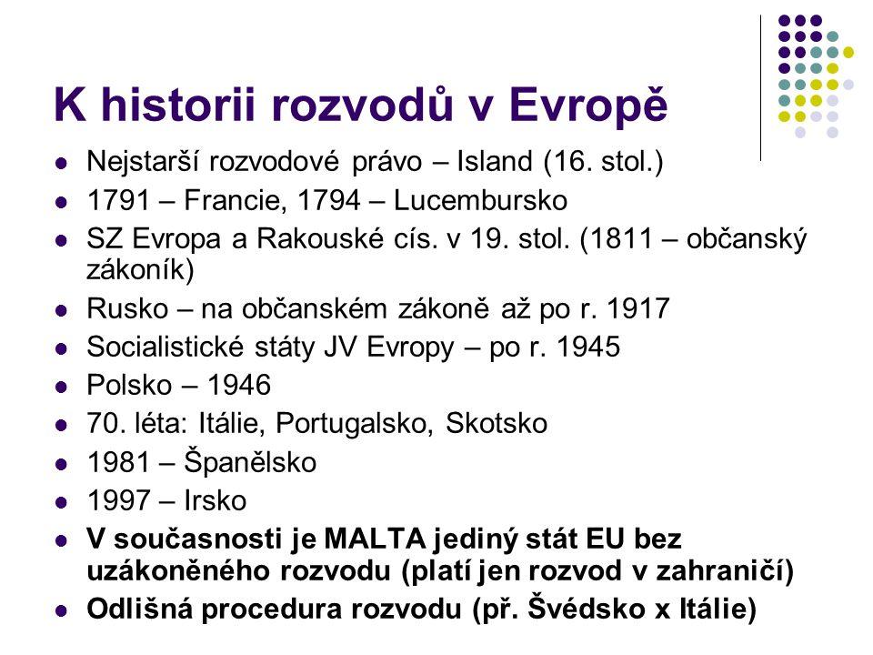 K historii rozvodů v Evropě Nejstarší rozvodové právo – Island (16. stol.) 1791 – Francie, 1794 – Lucembursko SZ Evropa a Rakouské cís. v 19. stol. (1