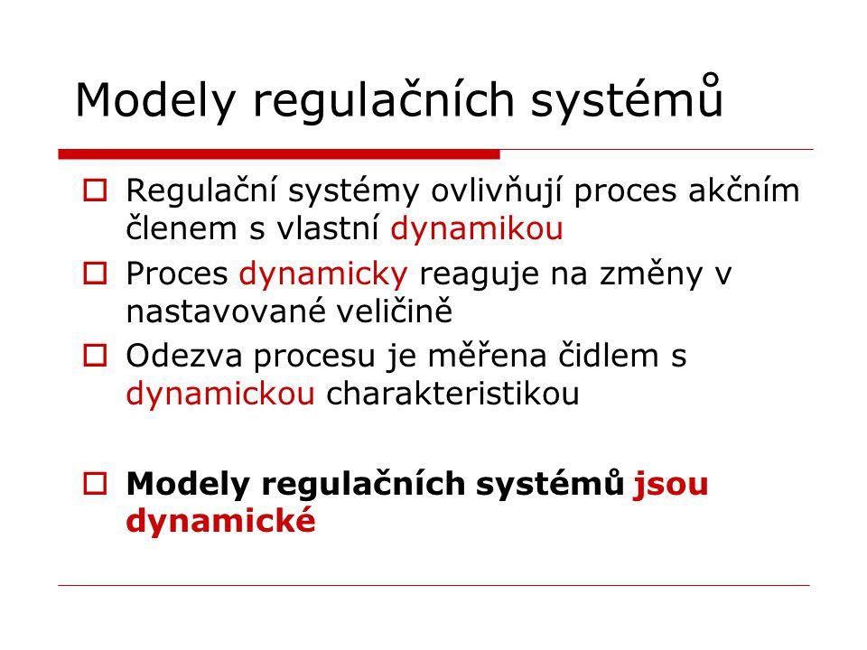 Modely regulačních systémů  Regulační systémy ovlivňují proces akčním členem s vlastní dynamikou  Proces dynamicky reaguje na změny v nastavované ve