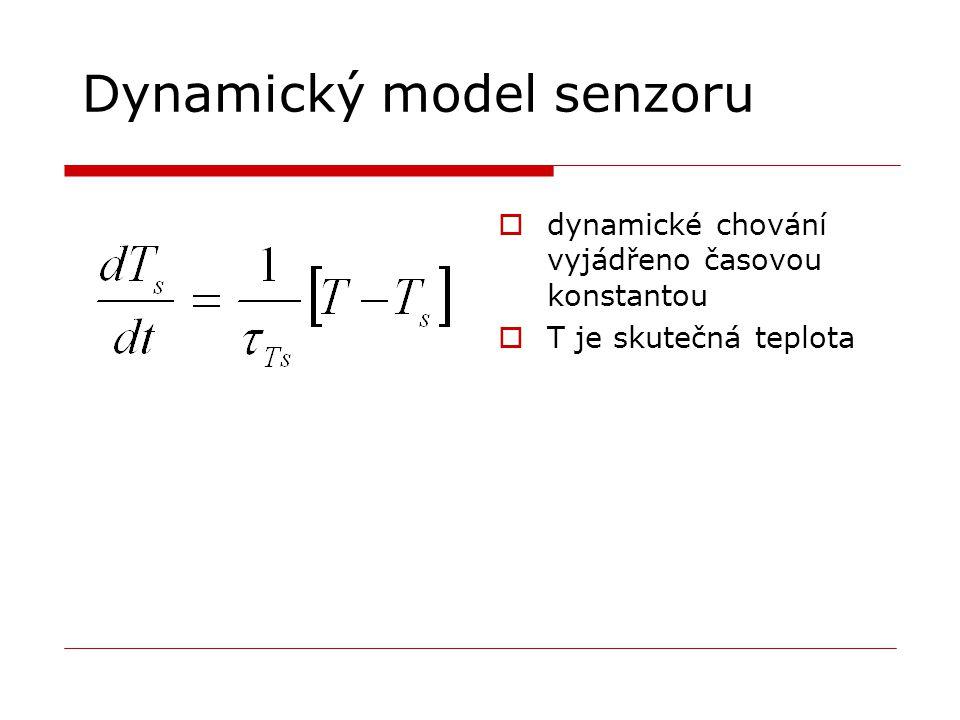Dynamický model senzoru  dynamické chování vyjádřeno časovou konstantou  T je skutečná teplota