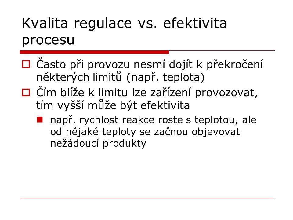 Kvalita regulace vs. efektivita procesu  Často při provozu nesmí dojít k překročení některých limitů (např. teplota)  Čím blíže k limitu lze zařízen