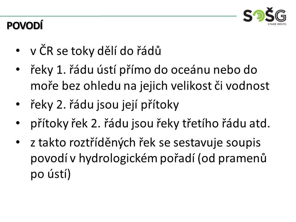 POVODÍ v ČR se toky dělí do řádů řeky 1.