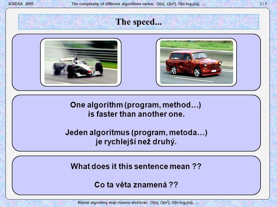 44 / 1The complexity of different algorithms varies: O(n), Ω(n 2 ), Θ(n·log 2 (n)), … Různé algoritmy mají různou složitost: O(n), Ω(n 2 ), Θ(n·log 2 (n)), … Order of growth X36DSA 2005 Rules 1.8x + 600  log 2 (x)   (x) x 3 + 7x 1/2 + 5(log 2 (x)) 4   (x 3 ) 13  3 x + 9x 12 + 42x -4 + 29   (3 x ) g(x)  O(f(x))   (f(x)) =  (f(x) + g(x)) (a > 0)   (f(x)) =  (a  f(x)) 0.1x 5 + 200x 4 + 7x 2 + x - 3   (x 5 ) –''–  O(x 5 ) –''–   (x 5 ) 4  2 n + 3  2 n-1 + 5  2 n/2   (2 n ) Examples