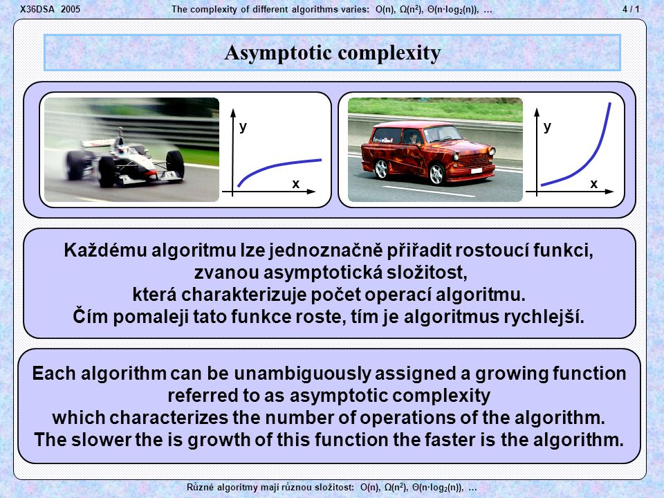 4 / 1The complexity of different algorithms varies: O(n), Ω(n 2 ), Θ(n·log 2 (n)), … Různé algoritmy mají různou složitost: O(n), Ω(n 2 ), Θ(n·log 2 (