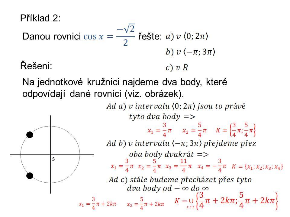 Příklad 2: Danou rovniciřešte: Řešeni: Na jednotkové kružnici najdeme dva body, které odpovídají dané rovnici (viz.