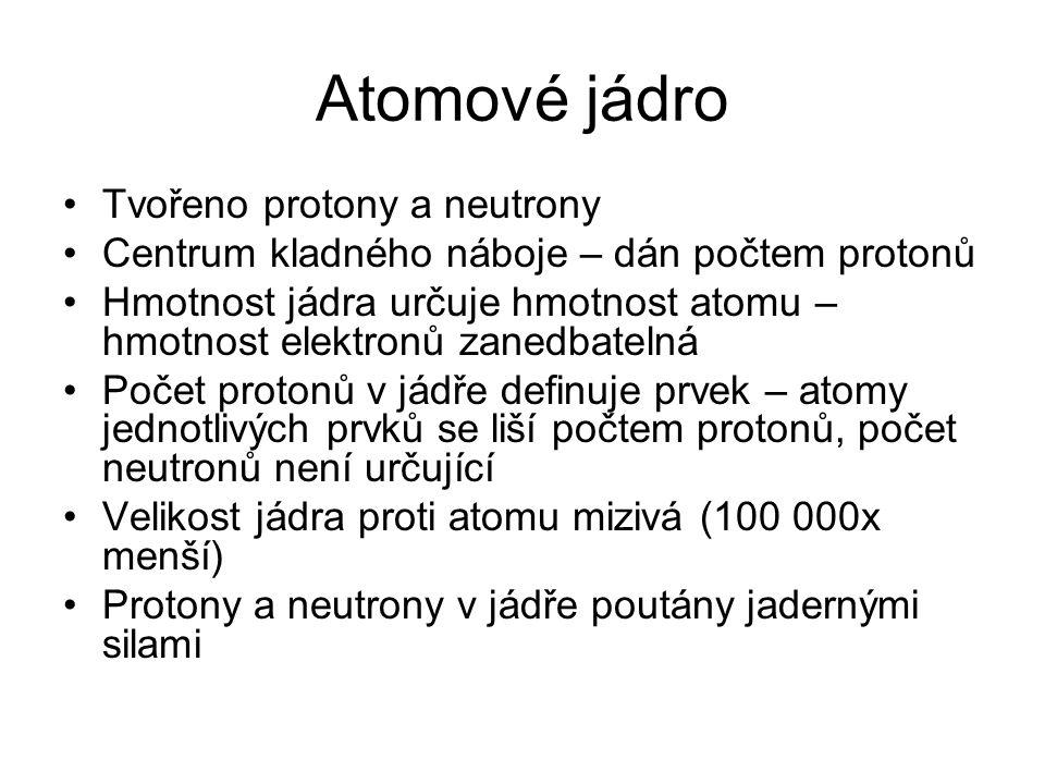 Atomové jádro Tvořeno protony a neutrony Centrum kladného náboje – dán počtem protonů Hmotnost jádra určuje hmotnost atomu – hmotnost elektronů zanedb