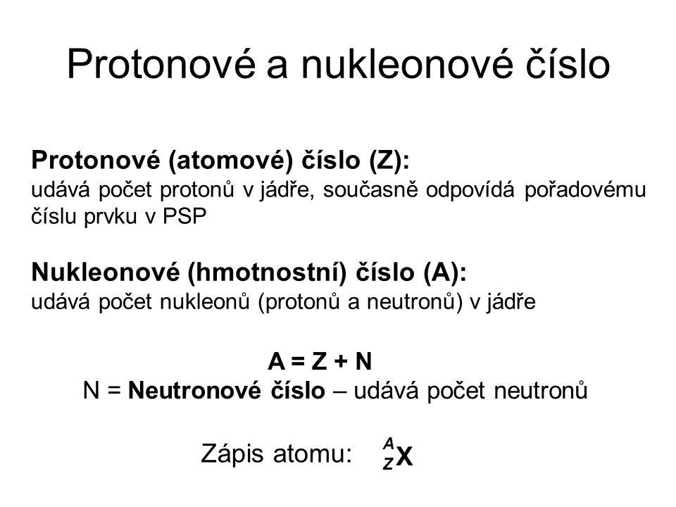 Protonové a nukleonové číslo Protonové (atomové) číslo (Z): udává počet protonů v jádře, současně odpovídá pořadovému číslu prvku v PSP Nukleonové (hm