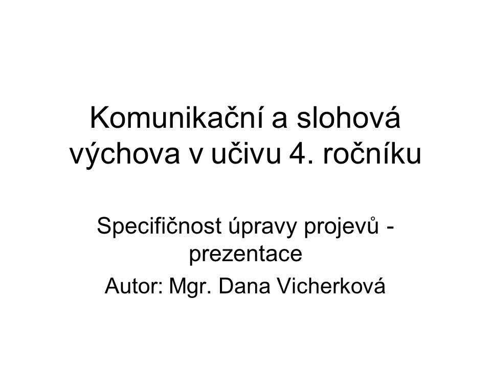 Komunikační a slohová výchova v učivu 4. ročníku Specifičnost úpravy projevů - prezentace Autor: Mgr. Dana Vicherková