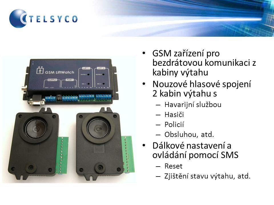 GSM zařízení pro bezdrátovou komunikaci z kabiny výtahu Nouzové hlasové spojení 2 kabin výtahu s – Havarijní službou – Hasiči – Policií – Obsluhou, at