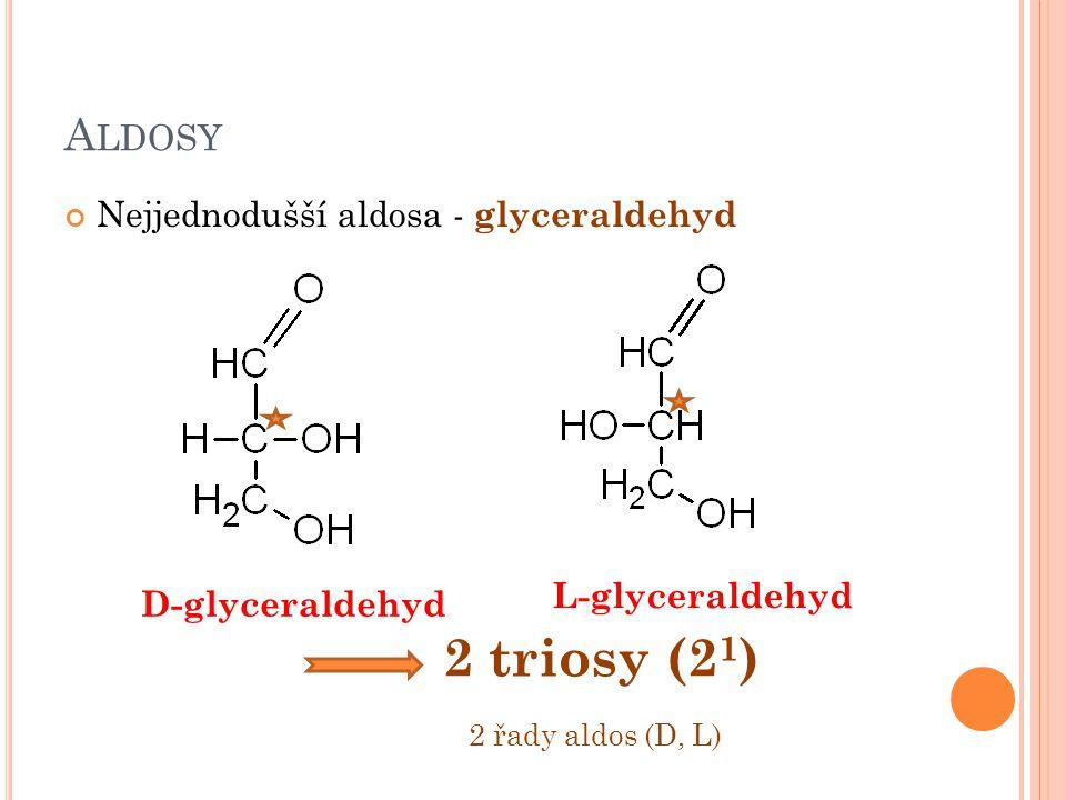 A LDOSY Nejjednodušší aldosa - glyceraldehyd D-glyceraldehyd L-glyceraldehyd 2 triosy (2 1 ) 2 řady aldos (D, L)