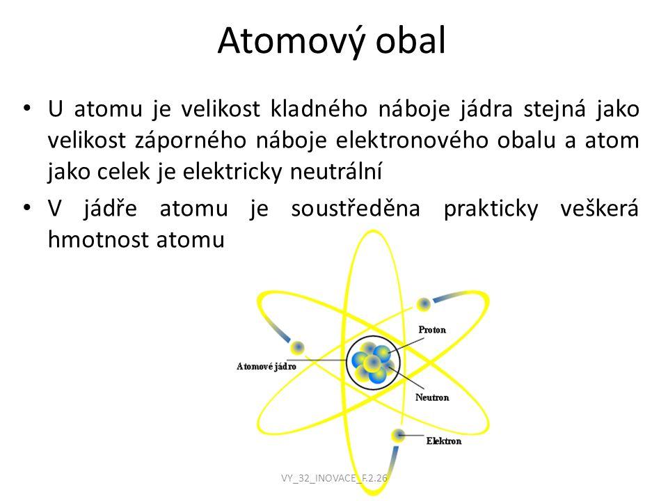 Atomový obal U atomu je velikost kladného náboje jádra stejná jako velikost záporného náboje elektronového obalu a atom jako celek je elektricky neutrální V jádře atomu je soustředěna prakticky veškerá hmotnost atomu VY_32_INOVACE_F.2.26