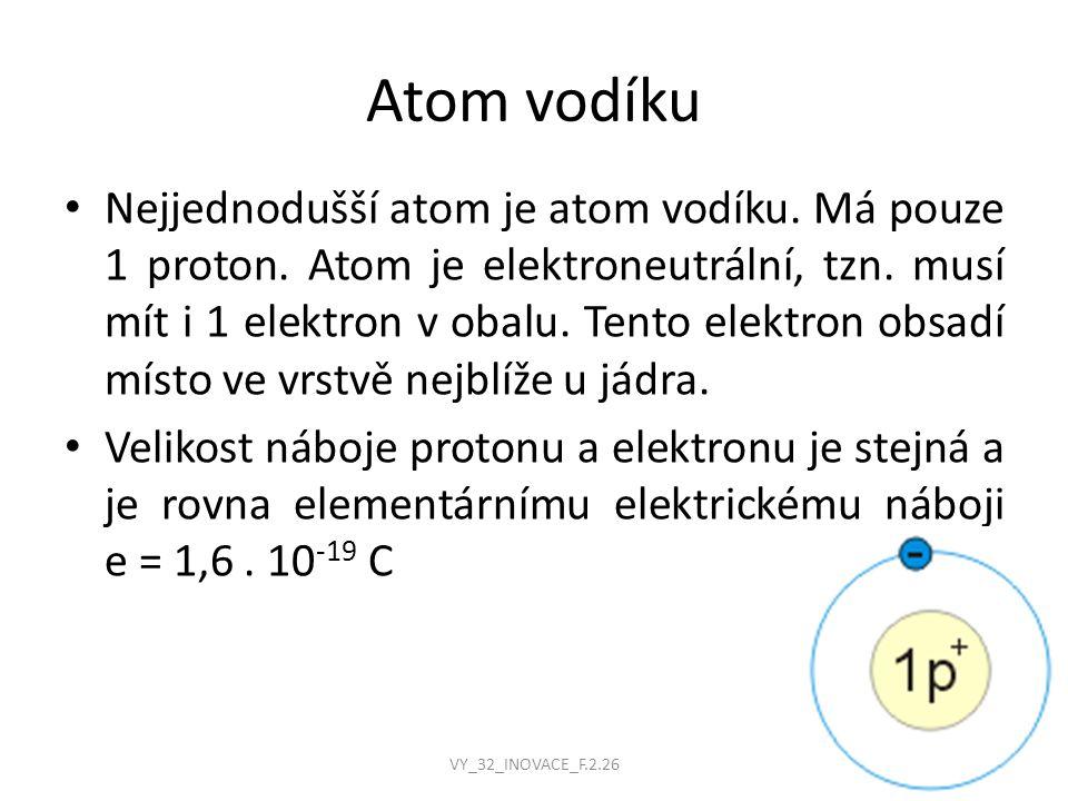 Nejjednodušší atom je atom vodíku. Má pouze 1 proton.