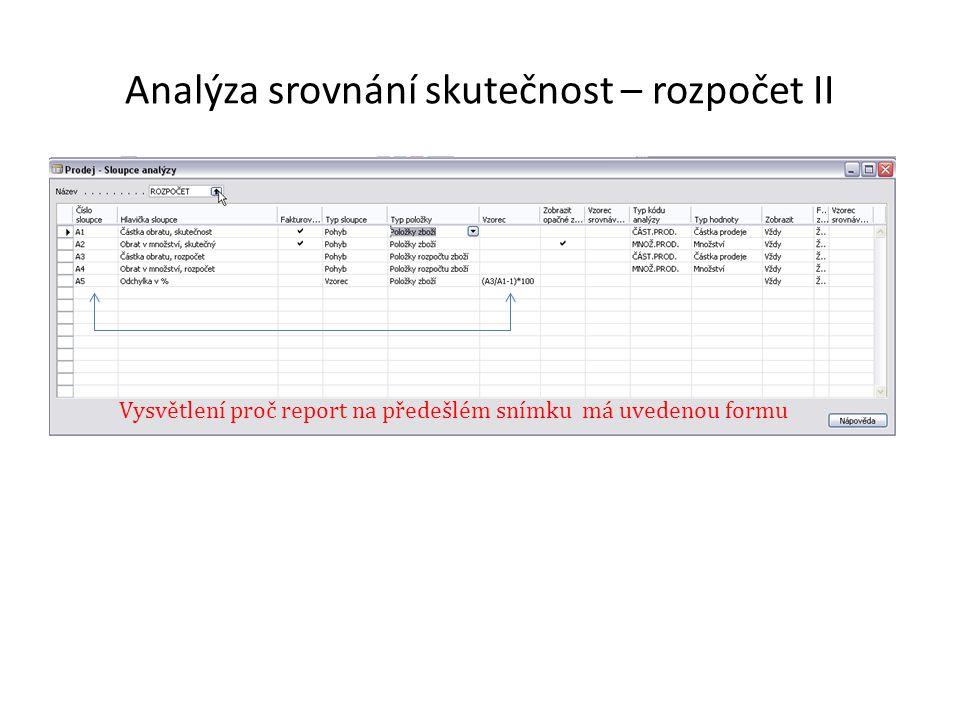 Analýza srovnání skutečnost – rozpočet II Vysvětlení proč report na předešlém snímku má uvedenou formu