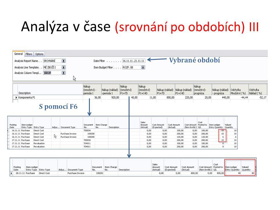 Analýza v čase (srovnání po obdobích) III Vybrané období S pomocí F6