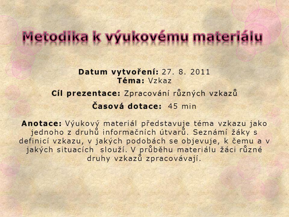 Datum vytvoření: Téma: Datum vytvoření: 27. 8.