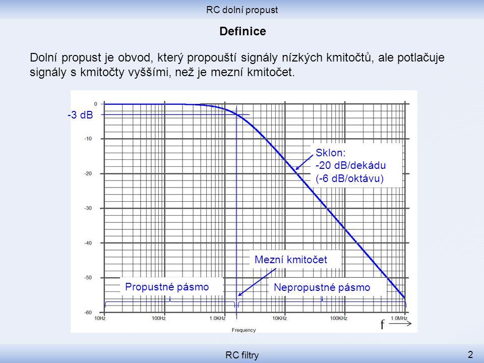 RC dolní propust RC filtry 3 Nejjednodušší dolní propust se skládá z jednoho rezistoru a jednoho kondenzátoru.