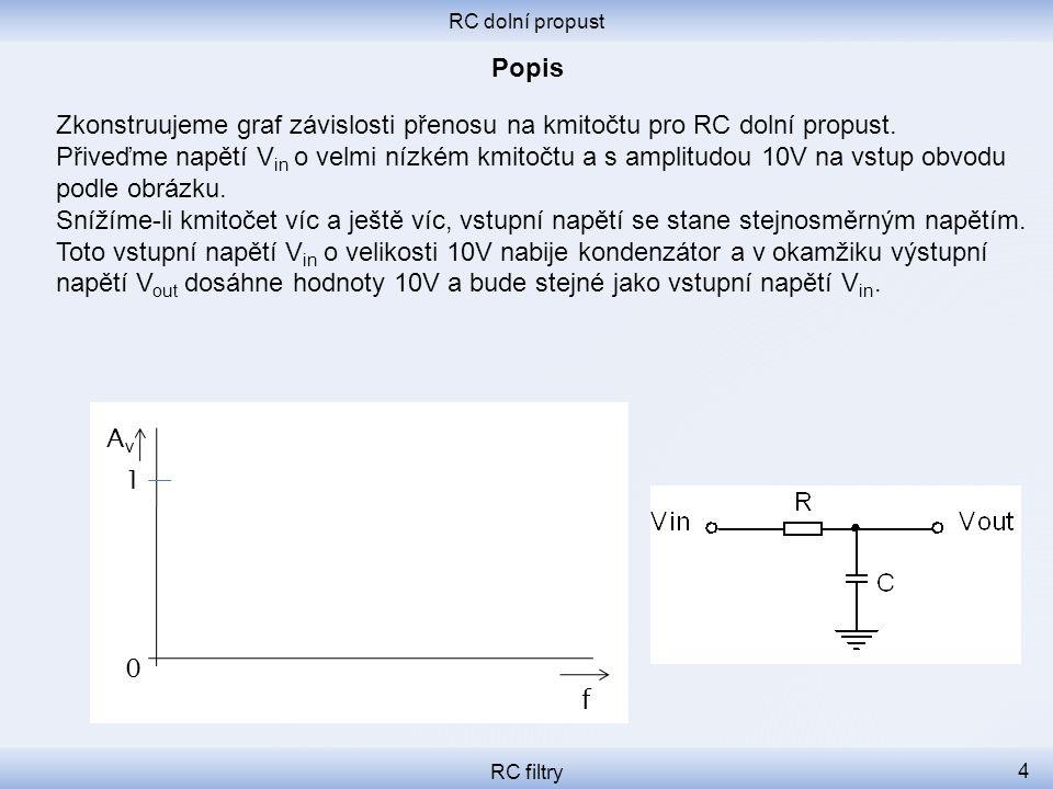 RC dolní propust RC filtry 4 Zkonstruujeme graf závislosti přenosu na kmitočtu pro RC dolní propust. Přiveďme napětí V in o velmi nízkém kmitočtu a s