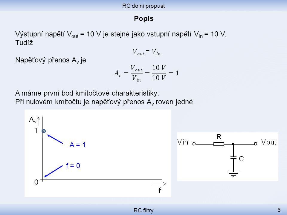RC dolní propust RC filtry 5 f 0 1 A = 1 f = 0 AvAv