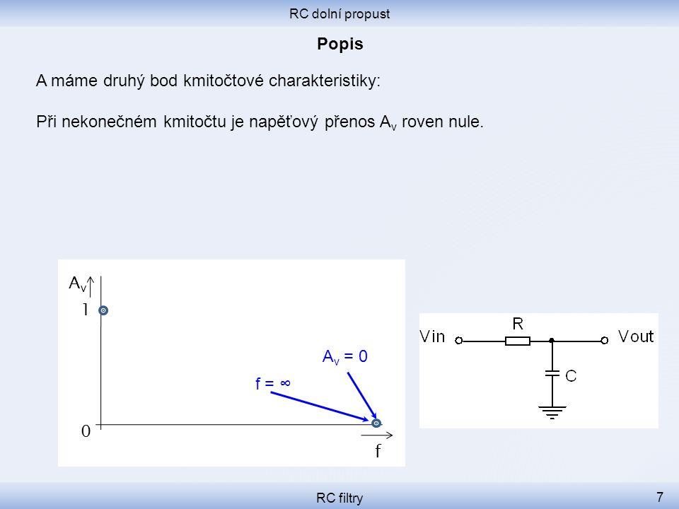RC dolní propust RC filtry 7 A máme druhý bod kmitočtové charakteristiky: Při nekonečném kmitočtu je napěťový přenos A v roven nule. f 0 1 A v = 0 f =